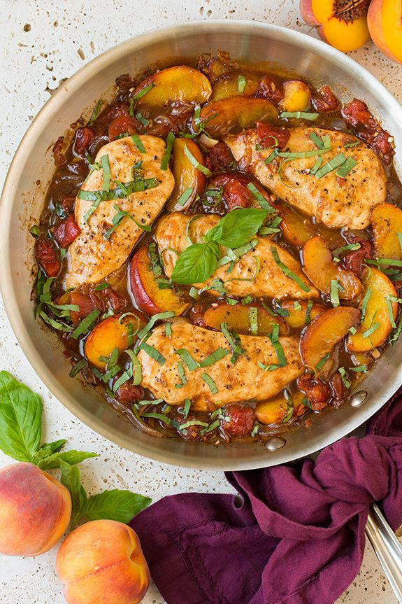 I told you I've been adding peaches to everything lately, even our main dish at dinner. Peaches go so well with chicken so I knew I had to try this Balsami