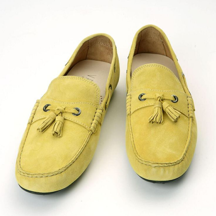 Yellow Suede Italian Loafers by Varca #varca #shoes #loafer #fashion