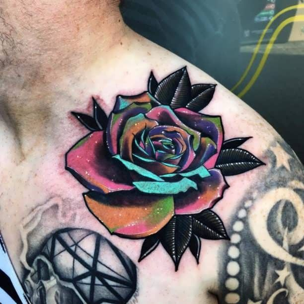 Tattoo colorful Rose shoulder man  - http://tattootodesign.com/tattoo-colorful-rose-shoulder-man/  |  #Tattoo, #Tattooed, #Tattoos