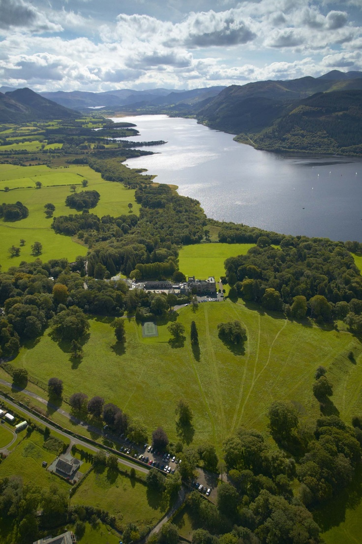 Aerial view of Bassenthwaite Lake and Armathwaite Hall Country House Hotel and Spa