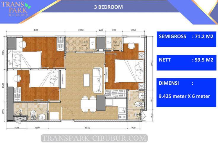 Denah apartemen TransPark Cibubur tipe 3 bedroom