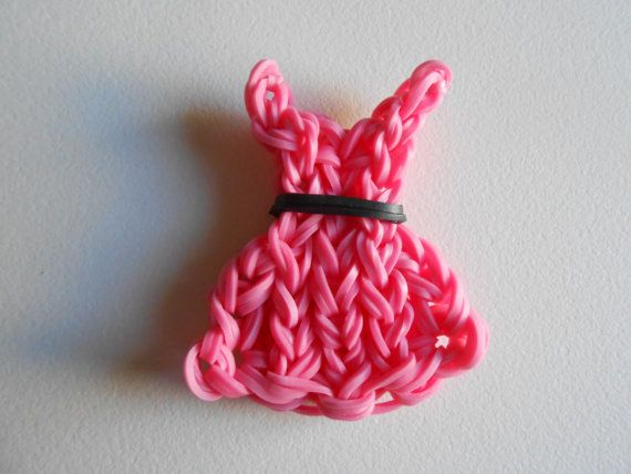 Rainbow Loom Dress Charm Ornament Pink by SashaMCrafts on Etsy