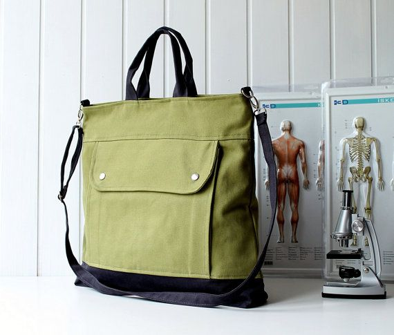 Project Bag in Olive Green - UNISEX BAG / Messenger bag / Tote Bag / For her / For men / For women / For him / microscope / under 50. $44.00, via Etsy.