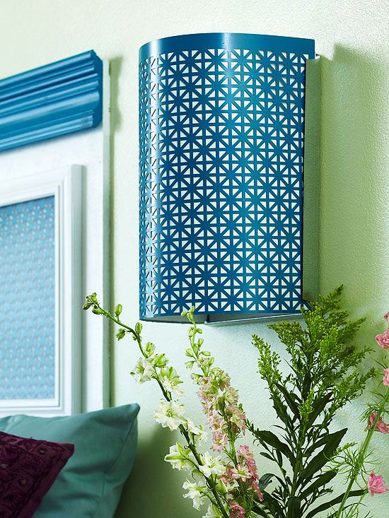 Dress up a plain sconce with decorative sheet metal: http://www.bhg.com/decorating/do-it-yourself/diy-color/?socsrc=bhgpin041014alllitup&page=11