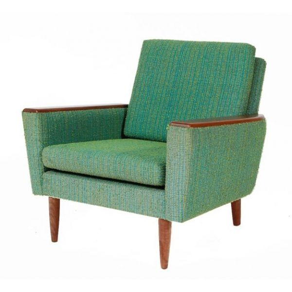 Danish Mid Century Design Armchair W Teak Arms Pads And