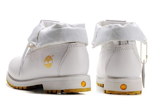 Timberland Mens Roll Top Boots-White Gold