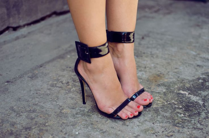 Black ankle buckle shoes