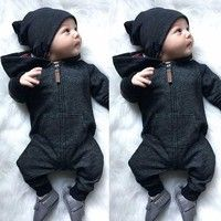Wish | Baby Kids Boys Cute Long Sleeve Zipper Hooded Romper Playsuit Autumn Winter Warm Outfit Clothes