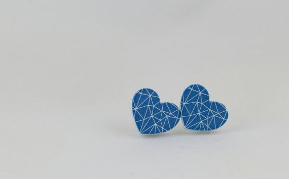 Blue Heart Wood Stud Earrings - Geometric Earrings - Blue and White - Heart Shaped Earrings - Love Earrings - Heart Earrings - 15mm Stud