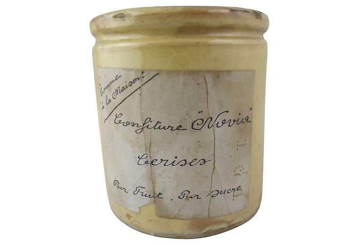 "One Kings Lane - Pièces de Résistance - Novier Vienois Jam Pot Yellow ware jam pot from the Novier Vienois jam manufacturer of Lyon. Pot bears the original paper label that translates to ""Jam Nogvier, Cherry, made with fruit and sugar."" Maker's mark on underside reads ""NV."""