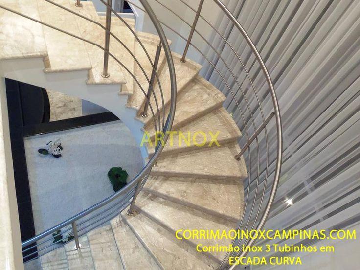 ARTNOX CORRIMÃO INOX: Corrimão aço inox tubo redondo Escada Curva Campinas São Paulo Jardim Chapadão
