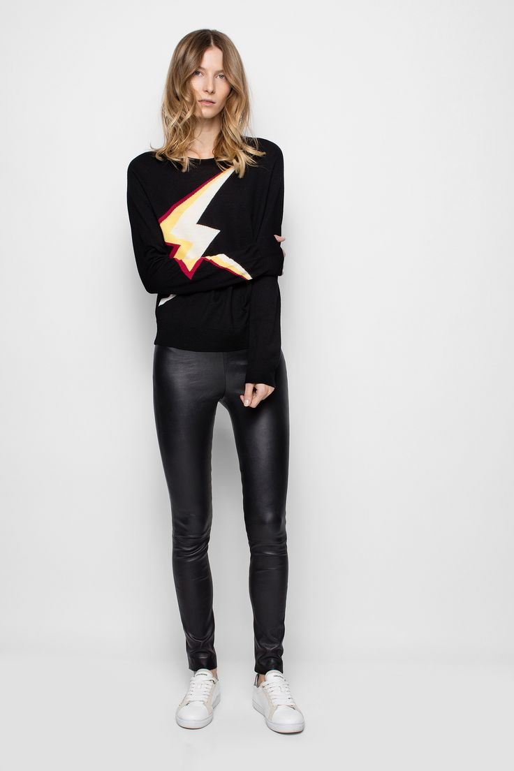 Zadig & Voltaire fitted crew-neck sweater, decorated with intarsia lightning bolts on the front and the right cuff, 100% merino wool. Soft and silky, merino wool is three times finer than traditional wool. Warm and breathable, elastic and resistant, its many qualities make it an extraordinary wool.
