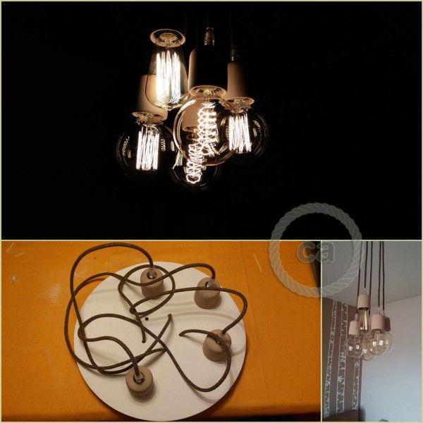 cavi tessili in lino, portalampada e lampadine edison