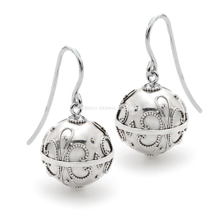 Sterling Silver Fleur de Lys Harmony Ball Earrings by Bella Donna Silver