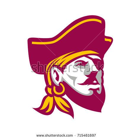 Icon style illustration of a Buccaneer, a privateer or pirate particular to the Caribbean Sea wearing tricorne hat on isolated background.  #buccaneer #retro #illustration