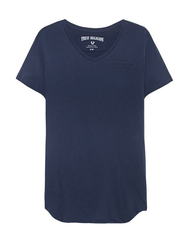 Baumwoll-T-Shirt mit Print Schmal geschnittenes dunkelblaues T-Shirt aus weicher Baumwolle mit V-Ausschnitt, schwarzem Label-Print auf der Brust, aufgerolltem sowie offenem Saum, seitlichen Schlitzen und großem Label-Print auf dem Rücken.  True Religion sorgt für eine ordentliche Portion Lässigkeit!