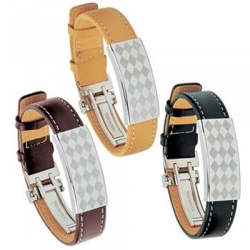 Stainless Steel Braclet with LeatherSteel Braclets, Stainless Steel, Leather Bracelets