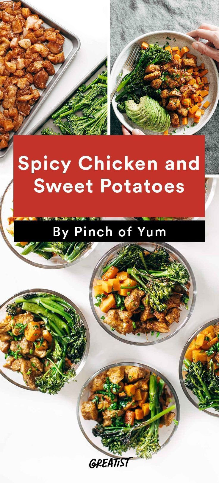 Meal Prep Lunches: Spicy Chicken and Sweet Potatoes