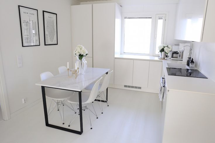 Homevialaura | made-to-order dining table | calacatta marble quartz | white and modern Scandinavian kitchen