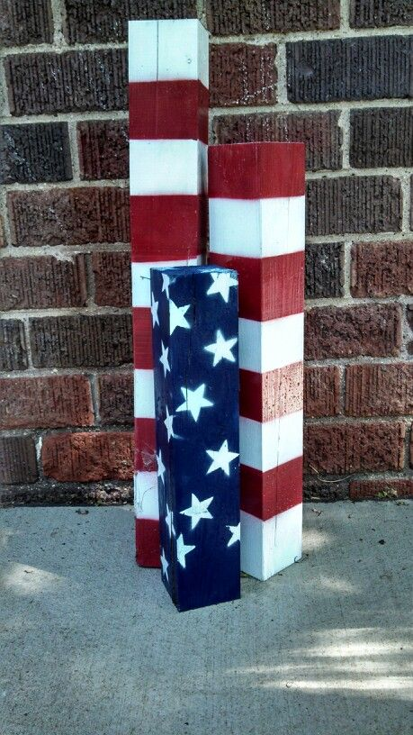 Took a section of 4x4, cut it up and spray painted. Super easy 4th of July project