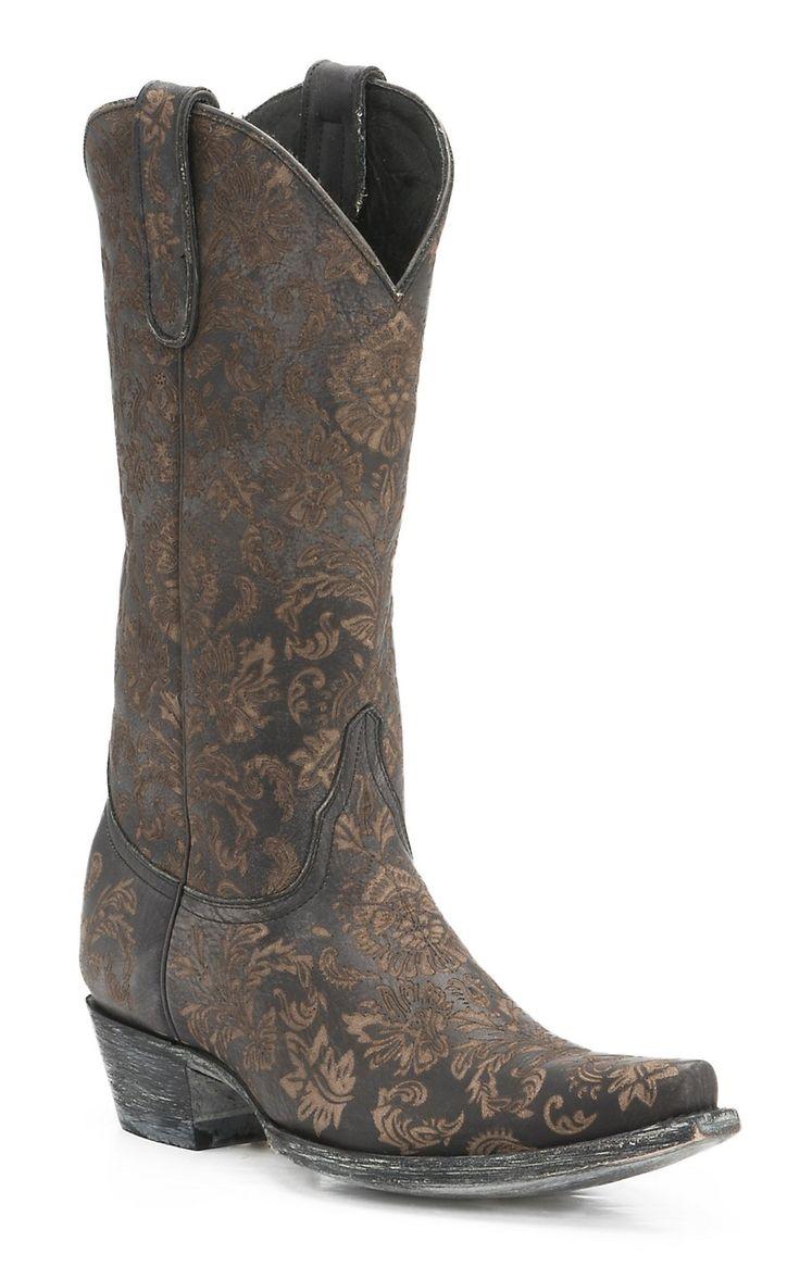 Old Gringo Women's Black Nadia Lazer Cut Floral Pattern Snip Toe Western  Boots