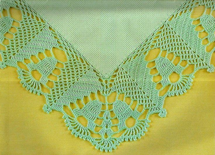 CROCHE COM RECEITA: Barrado grande em crochê no tecido