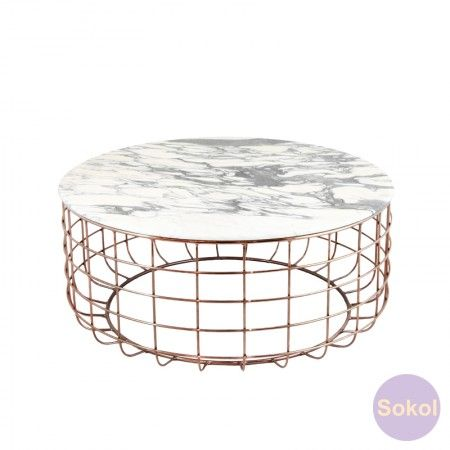 Linder Marble Coffee Table (rose gold)