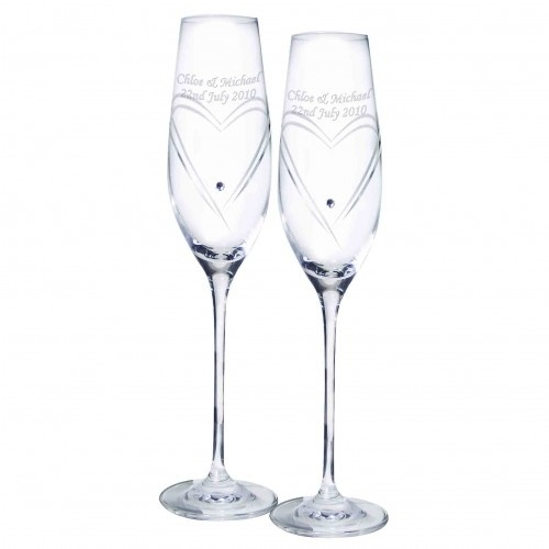 Crystal Heart Flutes £39.99 - The Wedding Gift Company