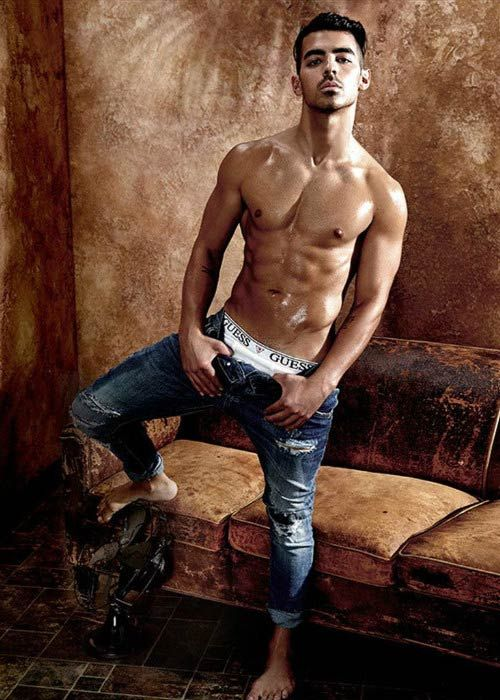 Joe Jonas shirtless during 2017 Guess underwear shoot....
