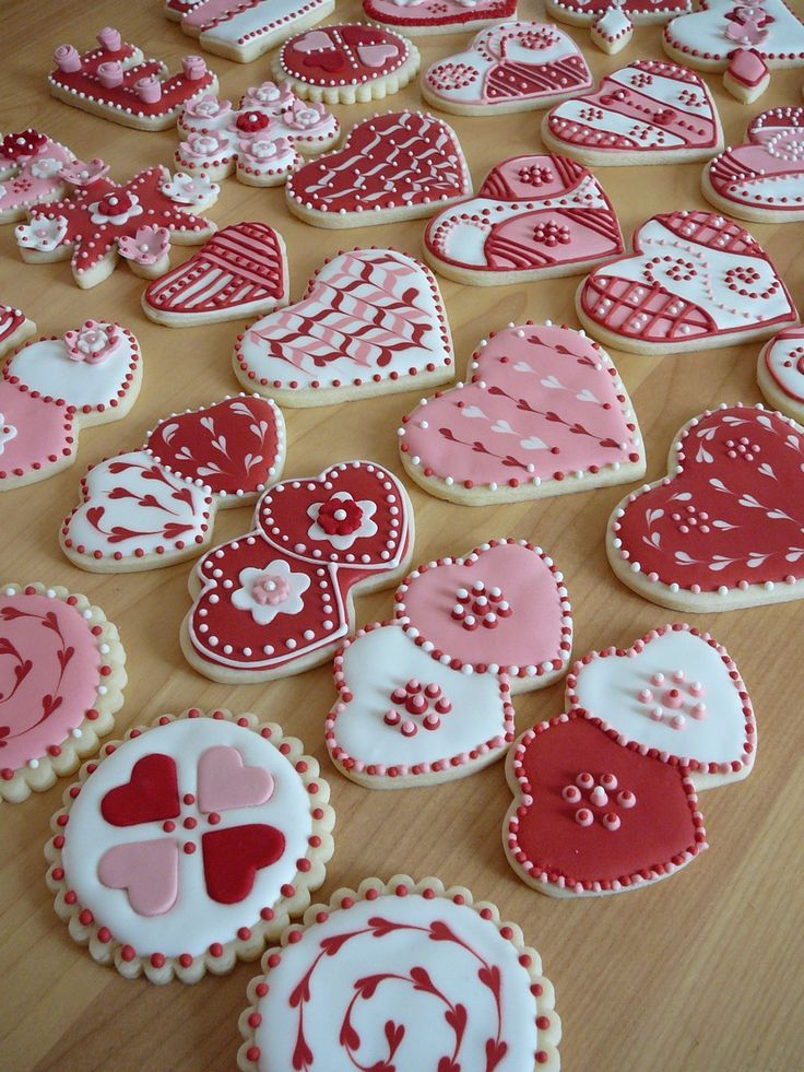 My Valentine cookies. Buttercookies covered with Royal icing and some...