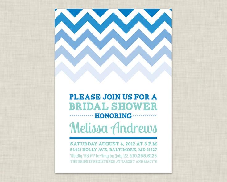 Ombre Chevron Invitation / Bridal Shower Invitation / Baby Shower Invitation