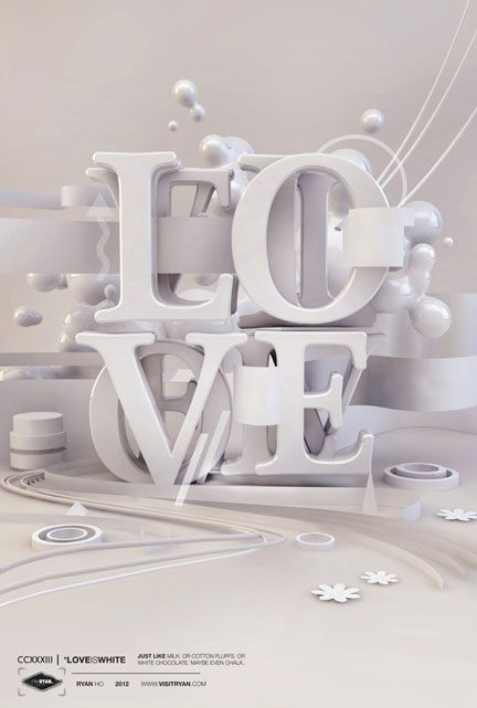 LOVE white on white 3d typo #inspiration #typography #3d