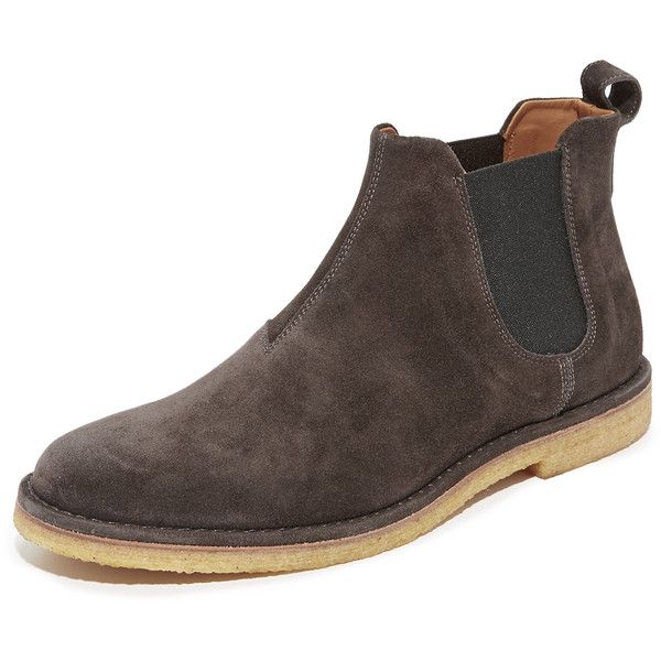 Vince Sawyer Suede Chelsea Boots (590 BAM) ❤ liked on Polyvore featuring men's fashion, men's shoes, men's boots, graphite, mens suede shoes, mens suede boots, mens suede chelsea boots and vince mens shoes