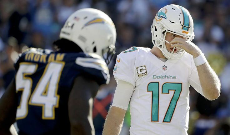 Dolphins vs. Chargers:  31-24, Dolphins  -  November 13, 2016  -  Miami Dolphins quarterback Ryan Tannehill reacts after getting tackled during the first half of an NFL football game against the San Diego Chargers in San Diego, Sunday, Nov. 13, 2016. (AP Photo/Gregory Bull)
