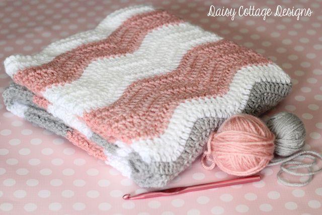 Free Crochet Pattern - Ripple Baby Blanket - Daisy Cottage Designs