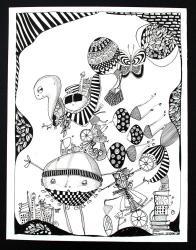 Illustration Dyr, Botanisk, Landskab, Surrealisme, Sort, Hvid - Eagles - Marianne Stenberg - ONLINE KUNST GALLERI ARTUNIKA