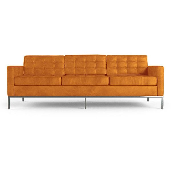 Unique Joybird Franklin Mid Century Modern Orange Leather Sofa liked on Polyvore featuring