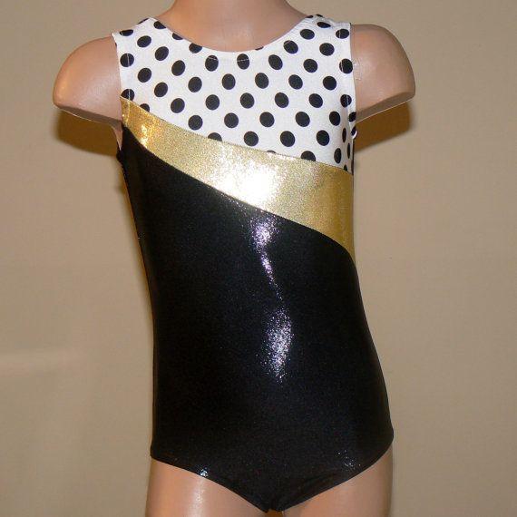 Gymnastics Leotard Black/Gold/Polka dots Size 2T by SENDesigne, $29.00