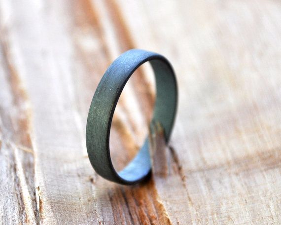 Women's Flat Oxidized Sterling Silver Wedding Ring. by Epheriell, $85.00
