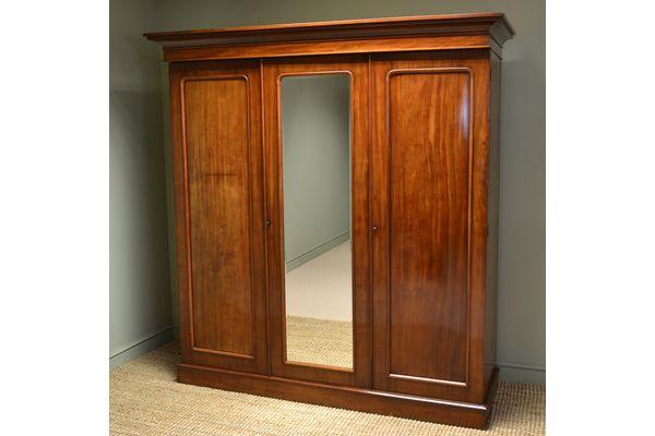 Quality Victorian Mahogany #Antique Triple Wardrobe | Vinterior London  #armoire #design #vintage #furniture #clothes
