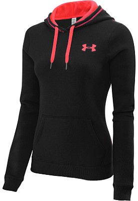 UNDER ARMOUR Women's Rival Cotton Pullover Hoodie Color: WARM GREY/NEO PULSE