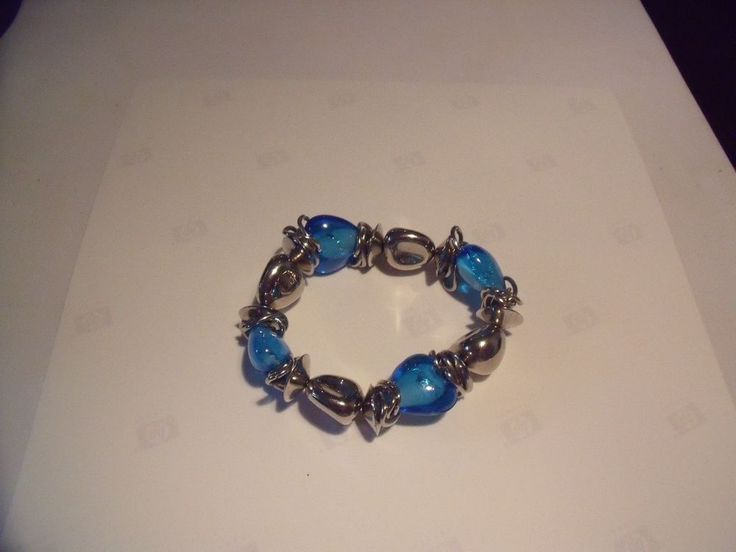 Turquoise  Silver Tone Statement  Wire Wrap Bracelet Stretch to Fit All | eBay