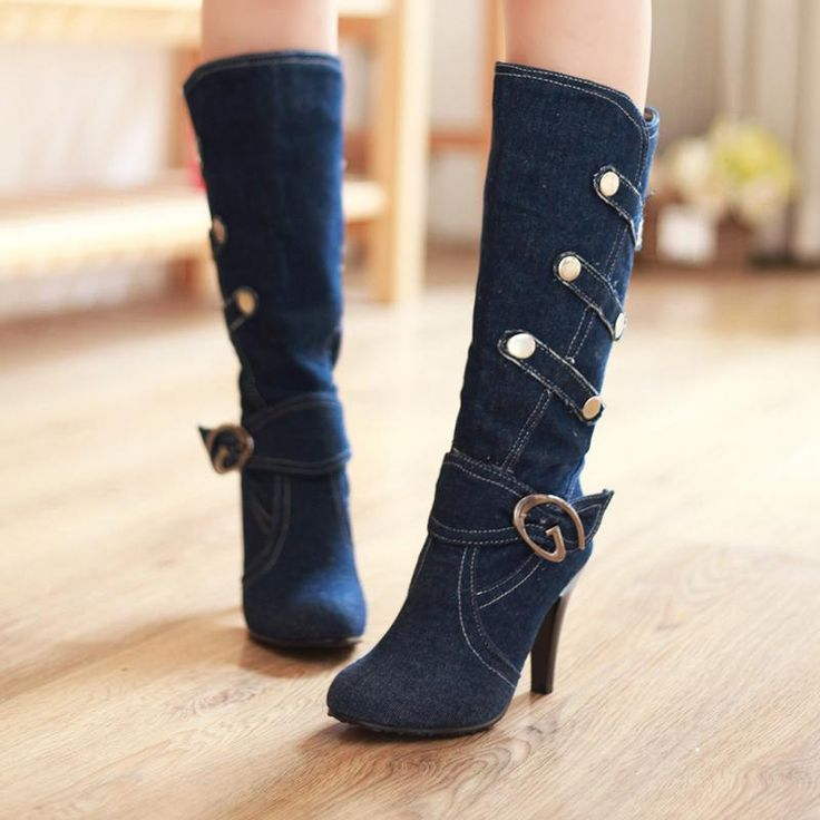 Women Boots High Heels Jeans Boots 2017 New Fashion Women High Thigh High Boots Shoes