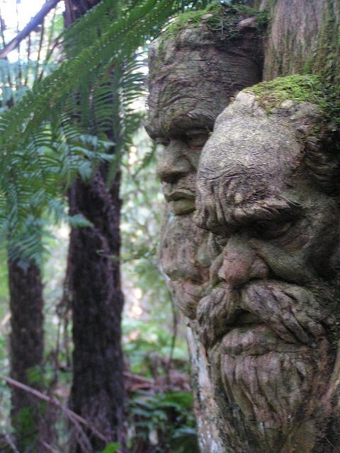 William Ricketts Sanctuary in Victoria, Australia - aboriginal faces in the trees