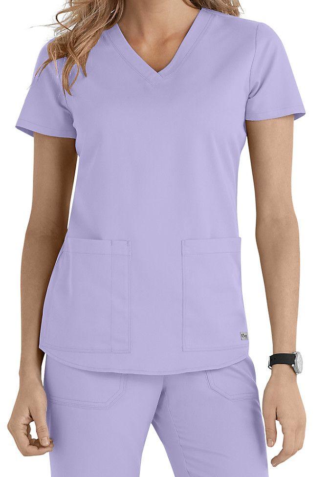 Greys Anatomy v-neck 2-pocket scrub top. Main Image