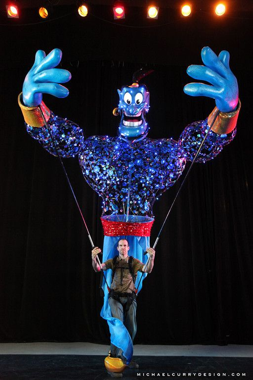 Giant Aladdin puppet designed by Michael Curry.