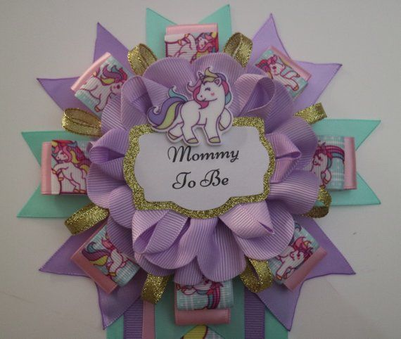 Unicorn Rainbow Baby Shower Mommy To Be Corsage Pin Unicorn