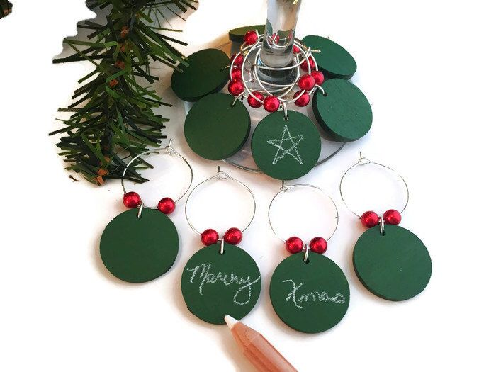 Christmas Wine Glass Charms, Green Chalkboard Wine Charms, Holiday Wine Glass Markers, Christmas Party Decor, Holiday Party Favors by AtHomeWithWords on Etsy https://www.etsy.com/listing/476987570/christmas-wine-glass-charms-green