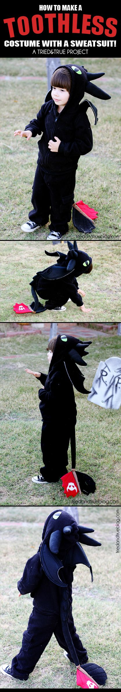 How To Make a Toothless Dragon Costume from a sweatsuit! - A Tried & True Project for Halloween
