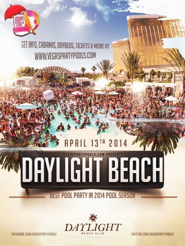 DAYLIGHT Beach Club at Mandalay Bay Hotel & Casino reopens their doors April 13, and every Sunday thereafter, to patrons dressed in their Sunday bests—barely-there bikinis and sky-high heels or board shorts and white tanks—waiting to worship at the mecca of the Daylife, 11am to 8pm. DAYLIGHT allows the party to easily transition from day to night, always with Mandalay Bay as the backdrop, located at 3950 S Las Vegas Blvd in Las Vegas. View more online www.VegasPartyPools.com